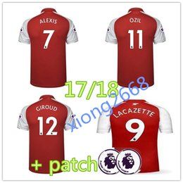 Wholesale Sports Jersey Patches - thai quality +patch 17 18 New Lacazette Soccer Jersey 2017 2018 ALEXIS GIROUD OZIL WALCOTT XHAKA embroidery jersey sports football shirts