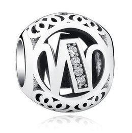 Wholesale Sports Jewerly - 925 Stering Silver Alphabet W Beads fits Pandora Jewerly Making heart enamel mother bead Accessories Crystal Letter Bead for Women Charms