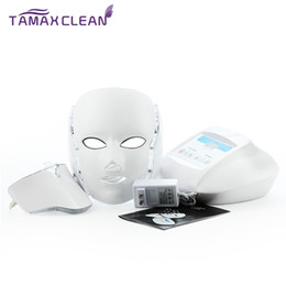 Wholesale Led Machine For Skin - Tamax 3 Color LED Infrared Beauty Therapy Machine Microcurrent Massager For Skin Rejuvenation Neck Mask Skin Home-Use Beauty Mask LM002