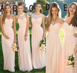Discount wedding dress crystal sash blush - Blush Pink Cheap Long Chiffon Bridesmaid Dresses 2017 Mixed Neckline Navy Royal Blue Formal Lace Backless Party Dresses Floor Length