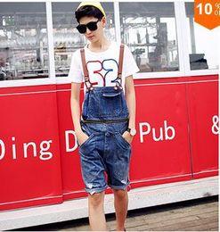 Wholesale Blue Jean Overalls Men - Wholesale-Free shipping Blue ripped jean shorts men Summer men's fashion hole denim overalls Korean style Men Distressed Ripped Shorts