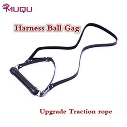 Wholesale harness mouth plug - Best Quality Leather Harness Mouth Gag adults products open Mouth proextender plug sex toys for women sex shop fetish gay SM