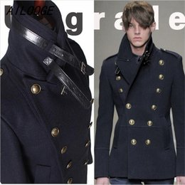 Wholesale Mens Slim Fit Pea Coats - Wholesale- Gothic Those Days Clothing British Winter Slim Fit Navy Blue Blazer Wool Mens Pea Coat Trench Long Jackets Coats For Men, M-XXL