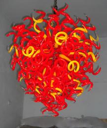 2019 mão descarregada Chegada nova Flush Mount Luzes de Teto Casa de Casamento Mão Decorativa Soprado De Vidro Lustre De Vidro Vermelho (LR141) mão descarregada barato