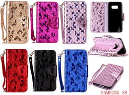 Wholesale Butterfly Bling Case - Bling Glitter Butterfly Wallet Leather Case For Samsung Galaxy S8 Plus S7 S6 Edge 2017 A3 A5 J3 J5 J7 2016 On5 J1 Mini Stand Phone Cover