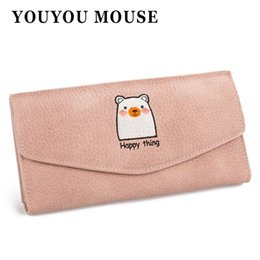 Wholesale Embroidery Wallets - YOUYOU MOUSE Fashion Women's Wallet Lovely Cartoon Embroidery Animal Pattern Purse Retro Long PU Leather 3 Fold Womens Wallet
