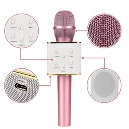 Wholesale Usb Conference Microphone - KTV-Q7 Wireless Karaoke Handheld Microphone Stereo Widening 4.0 USB KTV Player Bluetooth Speaker Host National GodDual Speaker Sound