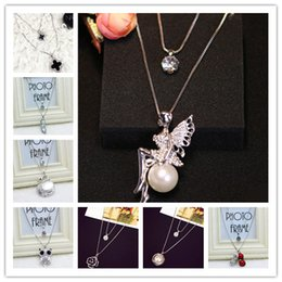 Wholesale Long Clover Necklaces Wholesale - Elegant Long Necklace Angel Snowflakes Peanut Swan Owl Clover Crystal Women Pendant Necklace Sweater Chain Jewelry