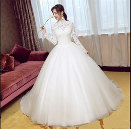Wholesale Muslim Best Wedding Dresses - Real picture ball gown white lace muslim high neck wedding dress arabic style long sleeve modest bride dress best selling 2017