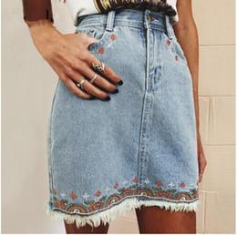 Wholesale Bohemian Denim Skirts - Fashion fringe flower embroidery pencil skirt Chic slim high waist denim skirt Summer women casual holiday bohemian beach skirts bottom new