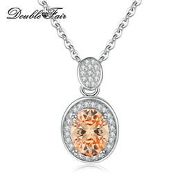Wholesale Oval Gemstone White - New Orange Oval Imitation Gemstone Pendants Necklaces White Gold Plated Wedding Jewelry For Women Wholesale DFN614