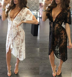 Wholesale White Lace Cardigan Dress - Summer Women Swimsuit Cover Up Fashion lace tassels Beach vacation Rash Guards V-neck Cardigan beach dress Bikini blouses