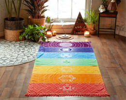 Wholesale Wholesale Yoga Mats - Polyester Bohemia Wall Hanging India Mandala Blanket 7Chakra Colored Tapestry Rainbow Stripes Travel Summer Beach Yoga Mat 0711025