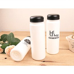 Wholesale Korean Cupping Wholesale - Wholesale- Plastic bottle exo gift promotional plastic cup Korean version of pure ribbon cover straight cup water bottle
