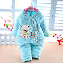 Wholesale Boys Children Track Suit - Wholesale- 2016 Spring New Baby Kids Children Clothing Set Boys Girls Clothes Cartoon Sport Suit warm with soft track to track baby clothes