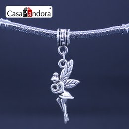 Wholesale Wholesale Fairy Charms - CasaPandora Silver-colored Flower Fairy Flower Angel Elfin elf Shape Pendant Fit Bracelet Charm DIY Making Pingente Berloque
