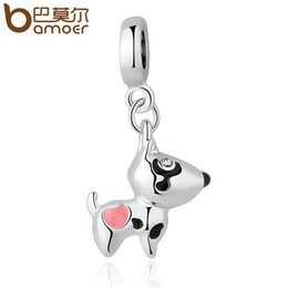 Wholesale Dog Charm Bead - BAMOER Silver Plated Pink Heart Dog Animal Pendants Charms Fit Bracelets Necklaces Women Cute Beads & Jewelry Making PA5328