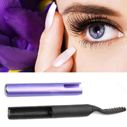 Wholesale Eye Lashes Curler - Portable Pen Style Electric Heated Makeup Eye Lashes Long Lasting Eyelash Curler Purple Appearance High Quality