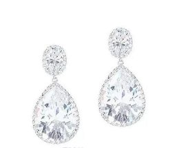 Birnenohrringe online-10.00CT PEAR OVAL HALO Wasser Diamant-Ohrring SOLID 14K Gold PARTY WEAR EARRING