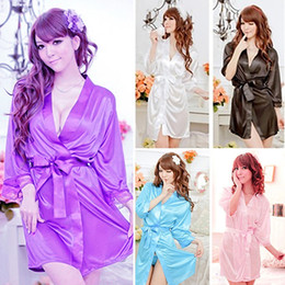 Wholesale Batik Robes - Wholesale- Women's Sexy Faux Silk Solid Color Robe Short Bathrobe Sleepwear Nightwear New Arrival