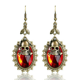 Wholesale Double Skull Earring - Fashion Retro skull Punk Ancient bronze plating Double layer skull head big Acrylic earrings for women and men Halloween party