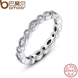 Wholesale Marquise Wedding Sets - yizhan BAMOER 925 Sterling Silver Alluring Brilliant Marquise Stackable Finger Ring with Clear CZ Original Fine Jewelry PA7130