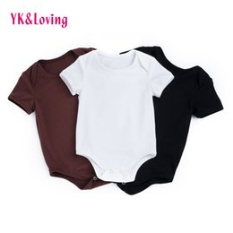 Wholesale Short Overalls For Baby Girls - Newborn Baby Unisex Bodysuits Black white brown Baby Girls Boys Infant Jumpsuit Short Sleeve Overalls For 0-2 Years High Quality Costume