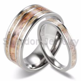Conjuntos de anillos de boda de camuflaje online-SHARDON Parejas Salvajes Cornamenta de Boda Conjunto A juego Camo Salvaje Cornamenta Anillos de Titanio (2 unids) Amantes de la moda anillos de Joyería
