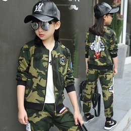 Wholesale Summer Sport Suit For Kids - Children clothing sets autumn teenage for boys sport suit camouflage school kids clothes tracksuit for girls clothes 12 years
