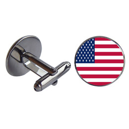Wholesale Island Shirts - Men Shirt Cuff links America and the Marshall Islands Glass Cabochon French Cufflink Copper Cloth Accessory Charm Jewelry Gift Wholesale