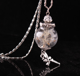 Wholesale Hottest Fashion Accessories - hot ! 2017 new fashion angel dandelion seed glass pendant necklace DIY handmade dried flowers retro necklace jewelry for women accessories