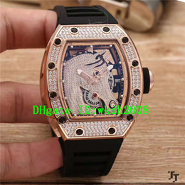 Wholesale Skeleton Date Automatic Mens Watch - Luxury Brand Casual Rose Gold Diamond Horse Skeleton Dial Automatic Mens Watch Black Rubber Strap Transparent Caseback Mans Wristwatches