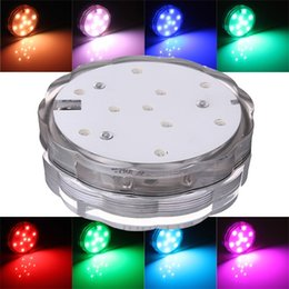 Wholesale Light Tubs - Wholesale- 10 LED Colorful Waterproof Submersible Party Light Swimming Pool Hot Tub Spa Lamp With Remote Control