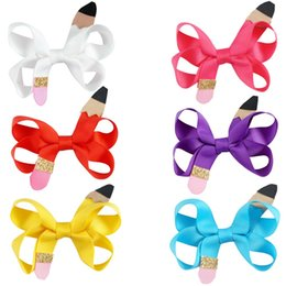 "Wholesale Hair Pencil - 18 Pcs lot 3"" Small Solid Ribbon Bow For School Girls Hair Bows With Ribbon Covered Clips Mini Pencil Hair Accessories Hairbows"