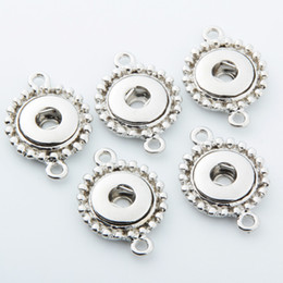 Wholesale Double Connector Charms - 20PCS Silver Single Ear Double Ears For 12MM Snap Button Connector Jewelry Accessories Fit for Snap Button Bracelets&necklace