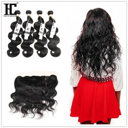 Wholesale Cheap Hair Lace Closure Piece - 100% Unprocessed Brazilian Body Wave Human Hair 8 Bundles With 13x4 Lace Frontal Closures Cheap Lace Frontals Best Quality