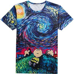 Wholesale Night Shirt Men - Van Gogh T shirt The Starry Night short sleeve Famous painting tees Street cool clothing Unisex cotton Tshirt