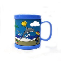 Wholesale Dolphin Cup - Wholesale- New Arrival Plastic Elegant Coffee Mugs Kids Cups Blue Embossed Beach Dolphin Water Tumbler Mugs With Lids Drinkware Tools