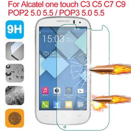 großhandel alcatel fall Rabatt Großhandels-ausgeglichenes Glas-Schirm-Schutz-Abdeckungs-Fall für Alcatel One Touch POP 3 5015D 5.0 5.5 5025D 5065D / POP 2 5.5 / C3 / C5 / C7 / C9 / gehen Spiel