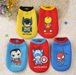 Wholesale Supermen T Shirt - Small Dog Clothes Winter The Avengers Batman Ironman Superman Spiderman Captain Ameriaca Cotton Vest for Pet Teddy Small Dog T Shirt