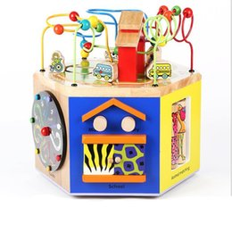 Wholesale Music Strings - New Funy Wooden Hexahedron Multifunctional Wise Box String Beads Together Game Music Stories Baby Early Education Toy Kids Birthday Gift