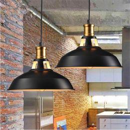 Wholesale Industrial Style Lamps - 2017 Industrial retro style Art LED Pendant lighting black white shell Edison LED light bulbs pendant lamp Hanging Light