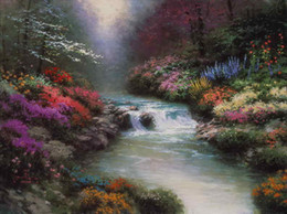 Hd pinturas florales online-Al lado de Still Waters Thomas Kinkade, pinturas al óleo, arte en pared, moderno, HD, impresión en lienzo, decoración sin marco
