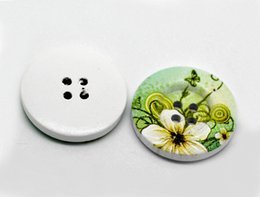Wholesale Green Craft Buttons - Kimter Round Green Flower Printed Wooden Sewing Buttons With 2 Holes 30mm For Scrapbooking Doll Decorations Crafts Pack Of 30pcs I605L