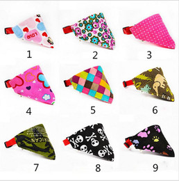 Wholesale Cat Pet Bandana - Multicolor 9 Styles Adjustable Dog Collar Puppy Cat Scarf Collar for Dogs Bandana Neckerchief Pet Accessories