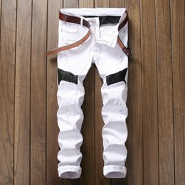 Wholesale Leather Jeans Men Skinny - Wholesale- Full Length white Skinny Jeans Italian Style Fashion Men Brand Designer Clothing Denim Pants pu leather Luxury Casual Trousers