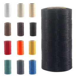 Wholesale Wax Clothes - 260M 1MM Wax Thread Cotton Cord String Thong For Jewelry Bracelet Making DIY Leather 9 colors