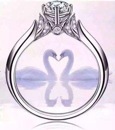 100% твердые серебряные кольца с S925 штамп настоящее 925 серебряные кольца набор 1 карат Сона CZ Алмаз обручальные кольца для женщин от