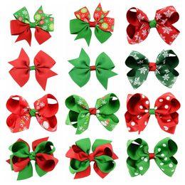 Wholesale Baby Pin - Baby Girls Bows Hairpins Christmas Grosgrain Ribbon Bows WITH Clip Snowflake Baby Girl Pinwheel Hair Clips Hair Pin Accessories gift KFJ100