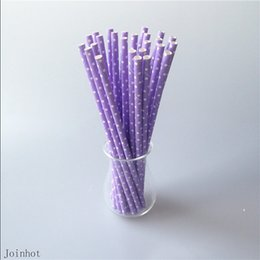 Wholesale Paper Straws Purple - Wholesale-25 pcs lot Polka Dot Purple Paper Drinking Straws Creative Drinking Tubes Party Supplies Wedding Free Shipping